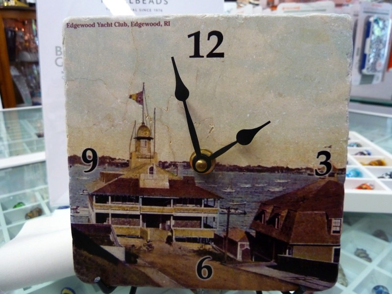 Tile clock, also with other Pawtuxet Village scenes